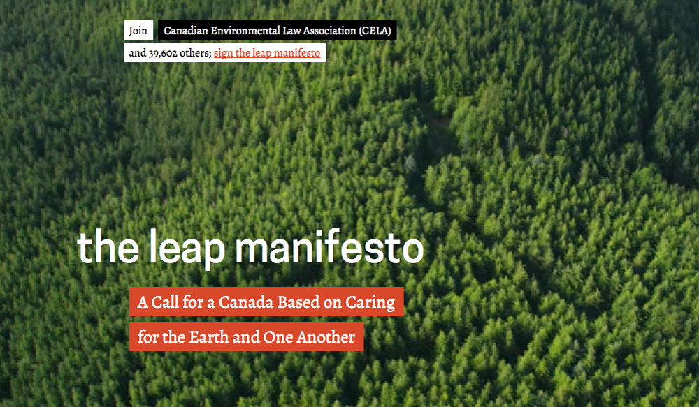 Canada | The Leap Manifesto: Call for a leap to prevent catastrophic global warming